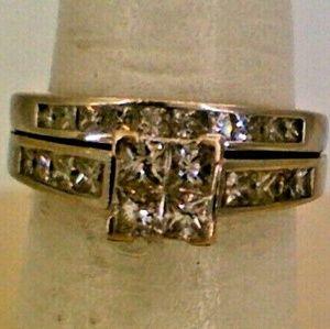 14K White Gold Lady's Diamond Wedding Ring Set 1.8
